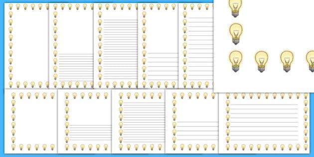 Light Bulb Portrait Page Borders- Portrait Page Borders - Page border, border, writing template, writing aid, writing frame, a4 border, template, templates, landscape