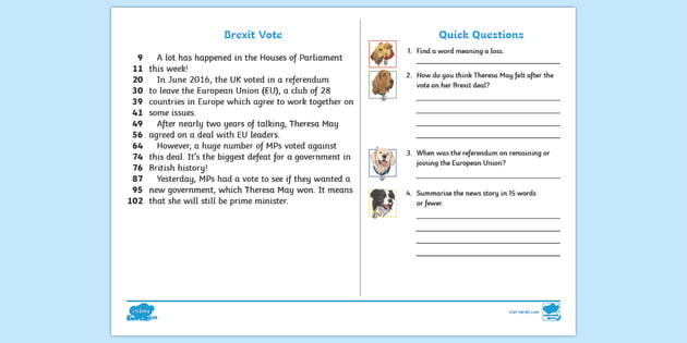 new lks2 brexit votes daily news 60 second read activity cards brexit