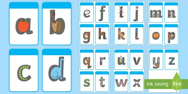 Black and White Alphabet Letter Shapes Flashcards