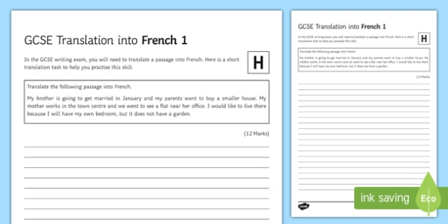 GCSE Translation into French 1 Higher Tier Worksheet / Activity Sheet