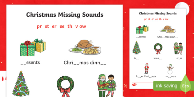 Christmas Missing Sounds Activity Sheet, worksheet
