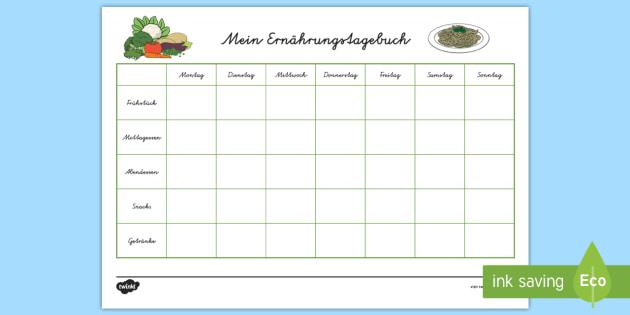 Mein Ernährungstagebuch Arbeitsblatt-German - Ernährung