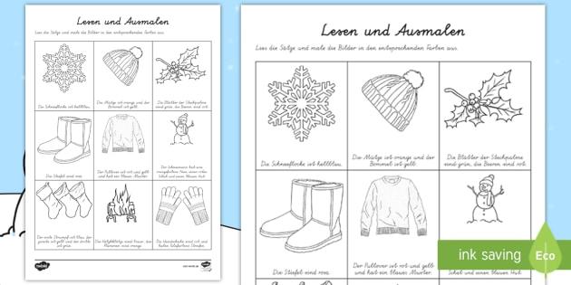 winterbilder lesen und ausmalen arbeitsblatt jahreszeiten. Black Bedroom Furniture Sets. Home Design Ideas