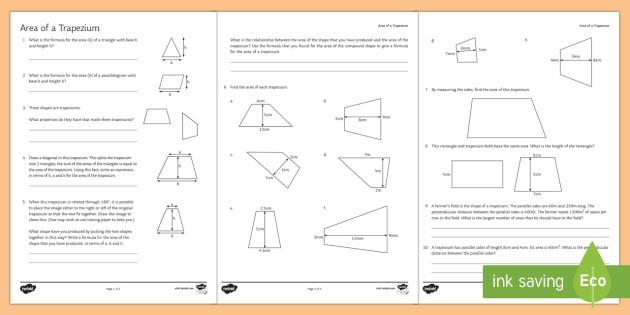 Area of a Trapezium Worksheet