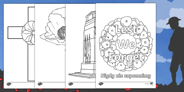 Remembrance Day Colouring Pages Polish/English