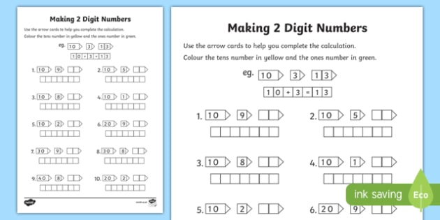 Making 2 Digit Numbers Activity Sheet - making, make, 2 digit, number, activity, worksheet