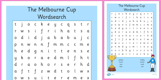 The Melbourne Cup Wordsearch - australia, melbourne cup, wordsearch