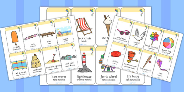 Seaside Flashcards Polish Translation - polish, seaside, flashcards