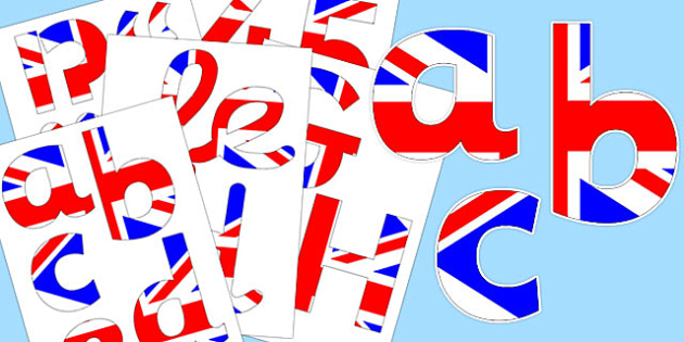Display Lettering & Symbols (British) - Display lettering, display letters, alphabet display, letters to cut out, letters for displays, coloured letters, coloured display, coloured alphabet, Britain, British Values,