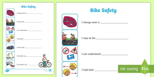 Bike Safety Activity Sheet (Ages 4 to 7): Arrange the Safety Tips ...