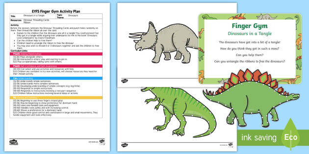 eyfs dinosaurs in a tangle finger gym plan and resource pack dinosaurs. Black Bedroom Furniture Sets. Home Design Ideas