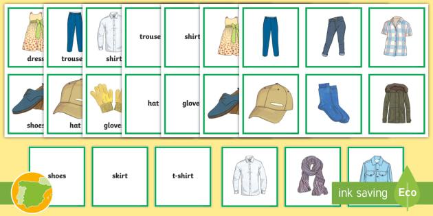 A1 Tarjetas De Emparejar Ropa Inglés Clothes English