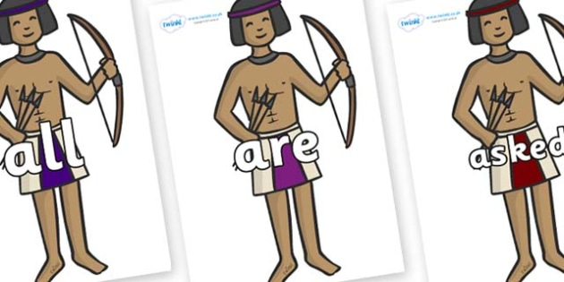 Tricky Words on Egyptian Archers - Tricky words, DfES Letters and Sounds, Letters and sounds, display, words