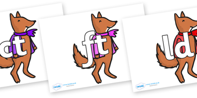 Final Letter Blends on Small Fox 4 to Support Teaching on Fantastic Mr Fox - Final Letters, final letter, letter blend, letter blends, consonant, consonants, digraph, trigraph, literacy, alphabet, letters, foundation stage literacy