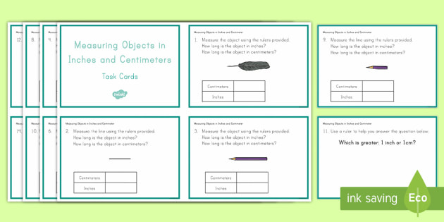 Measuring Objects in Inches and Centimeters Task Cards - Common Core, Second Grade, Measurement, Length