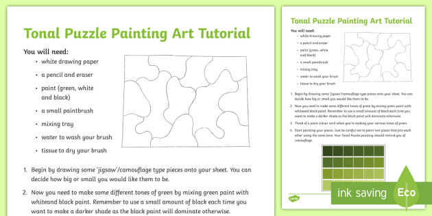 Tonal Puzzle Painting Step By Step Instructions Roi St