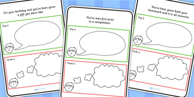 Think Or Say It Scenario Card Activity - learning support, SEN