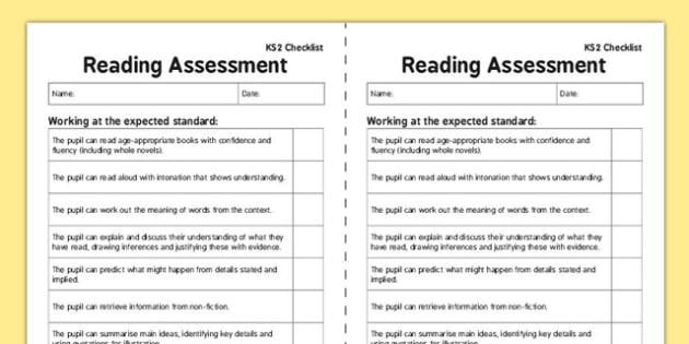 Ks2 Reading Exemplification Checklist Ks2 Reading