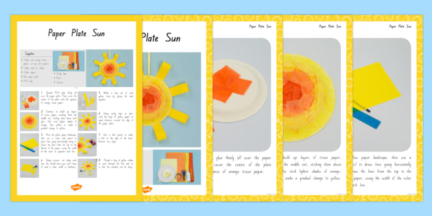 Paper Plate Sun Craft Instructions - nz, new zealand, craft, instructions, sun