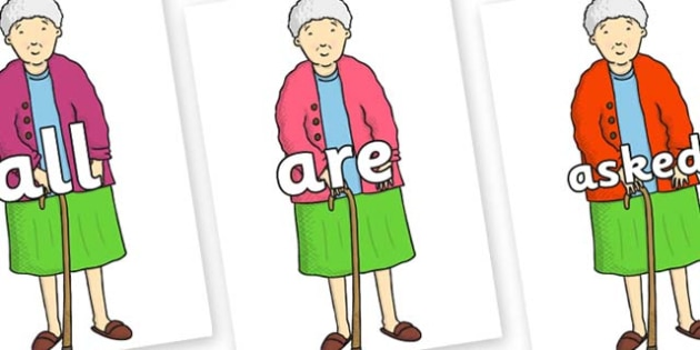 Tricky Words on Harry's Nan to Support Teaching on Harry and the Bucketful of Dinosaurs - Tricky words, DfES Letters and Sounds, Letters and sounds, display, words