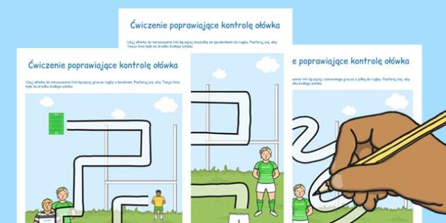 Ćwiczenia na poprawę kontroli ołówka Rugby po polsku - dzieci , Polish