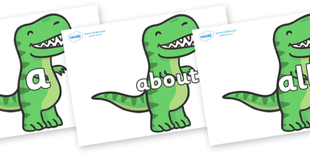 100 High Frequency Words on T Rex Dinosaurs - High frequency words, hfw, DfES Letters and Sounds, Letters and Sounds, display words