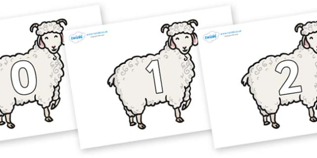 Numbers 0-50 on Small Billy Goats - 0-50, foundation stage numeracy, Number recognition, Number flashcards, counting, number frieze, Display numbers, number posters