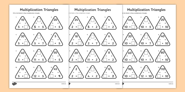 Multiplication Triangles Worksheet Activity Sheet 2 To 12