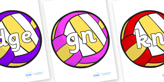Silent Letters on Volleyballs - Silent Letters, silent letter, letter blend, consonant, consonants, digraph, trigraph, A-Z letters, literacy, alphabet, letters, alternative sounds