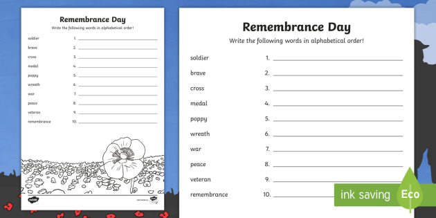 Remembrance Day Abc Order Worksheet Activity Sheet