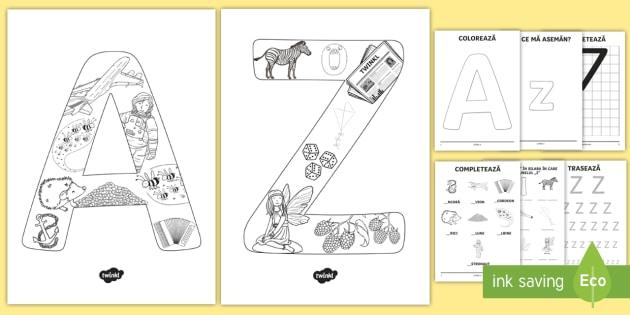 Consolidarea literelor majuscule Pachet cu activități - alfabetul, alfabetar, litere, sunete, grafisme,Romanian