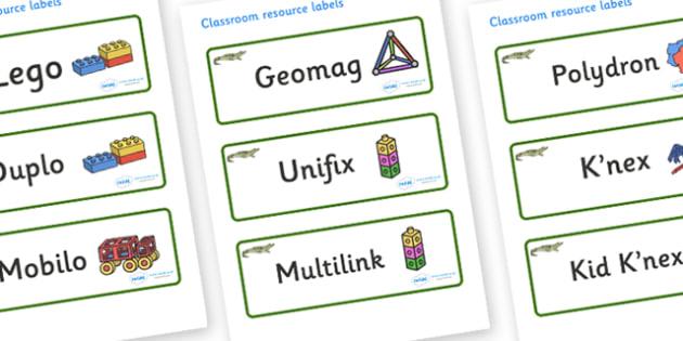Crocodile Themed Editable Construction Area Resource Labels - Themed Construction resource labels, Label template, Resource Label, Name Labels, Editable Labels, Drawer Labels, KS1 Labels, Foundation Labels, Foundation Stage Labels