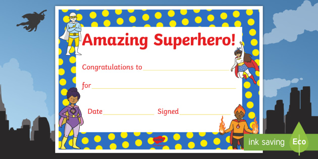Superhero Themed Reward Certificate - superheroes, superhero