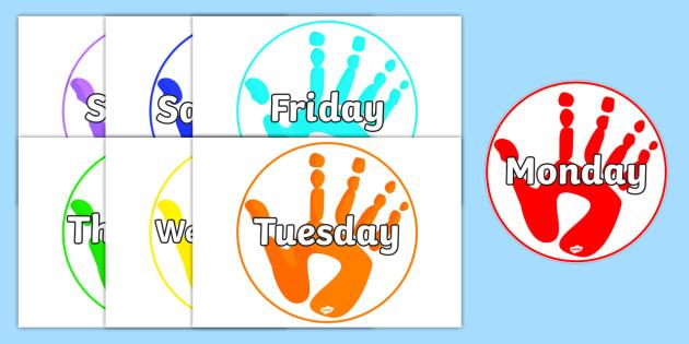 Handprints Days of the Week - handprints, days, week, print