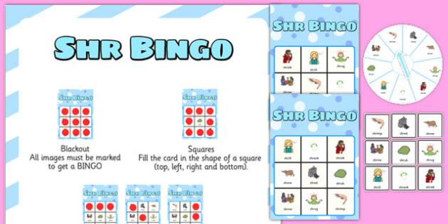 SHR Spinner Bingo - speech sounds, phonology, articulation, speech therapy, cluster reduction