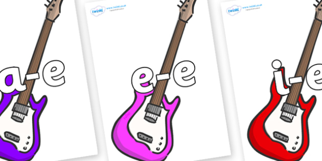 Modifying E Letters on Guitar - Modifying E, letters, modify, Phase 5, Phase five, alternative spellings for phonemes, DfES letters and Sounds