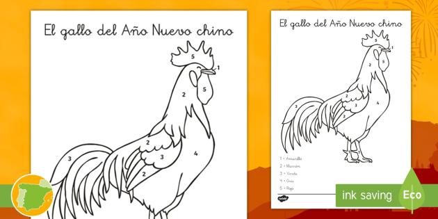Colorear con números: El gallo del Año Nuevo chino - Año