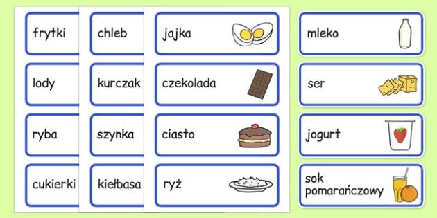 Karty ze słownictwem Jedzenie po polsku - przedszkole, żywność