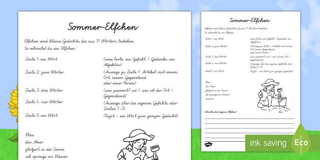 Sommer-Elfchen Arbeitsblatt - Sommer, Jahreszeiten, Gedichte