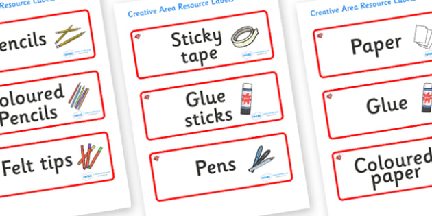 Ruby Themed Editable Creative Area Resource Labels - Themed creative resource labels, Label template, Resource Label, Name Labels, Editable Labels, Drawer Labels, KS1 Labels, Foundation Labels, Foundation Stage Labels