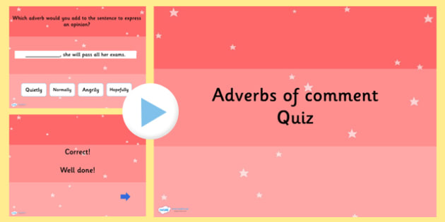 Using Adverbs of Comment SPaG Grammar PowerPoint Quiz - SPaG