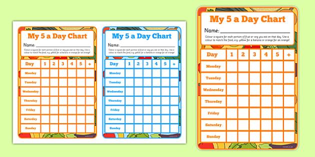 5 a day Healthy Eating Reward Chart  Goal Tracker