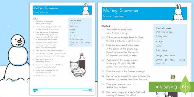 Melting Snowmen Activity - Winter, snow, ice, melt, freeze, experiment, investigation, fizz, bicarbonate of soda, baking powder