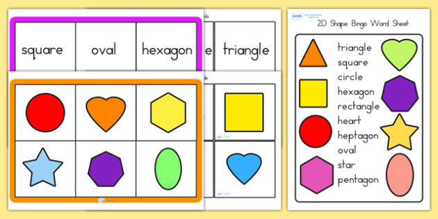 2D Shape Bingo - 2d, 2d shapes, shapes, shape bingo, bingo, game