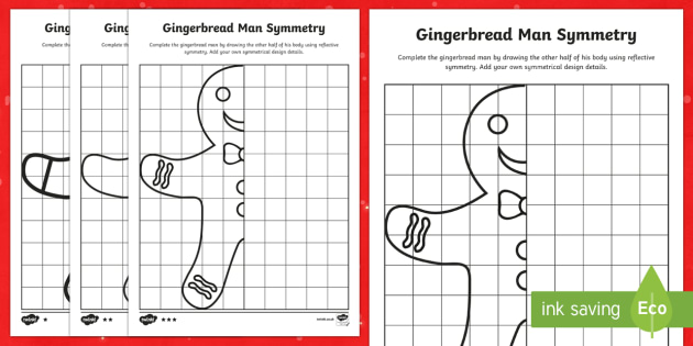Gingerbread Man Symmetry Differentiated Worksheet / Activity Sheets