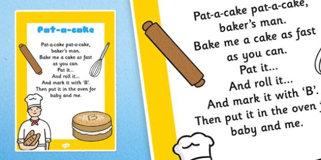 Pat a Cake Nursery Rhyme Poster - rhymes, display, songs, poems