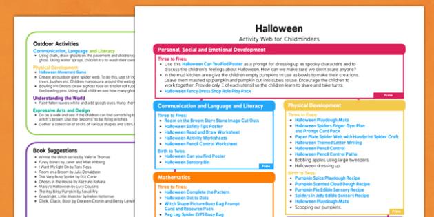 Halloween Activity Web for Childminders - halloween, activity, web, childminders