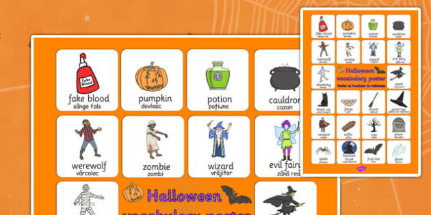 Halloween Vocabulary Poster Romanian Translation - romanian, halloween, hallowe'en, vocabulary, mat