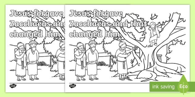 New Zacchaeus The Tax Collector Colouring Page Sacrament Confession