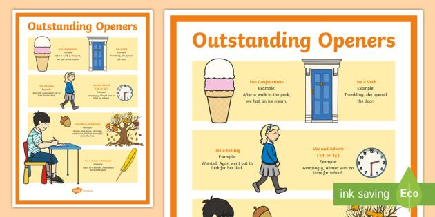 Outstanding Openers Display Poster - openers poster, outstanding openers poster, good openers poster, using openers, ks2 literacy, literacy poster